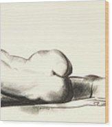Nude Study, Woman Lying Prone Wood Print