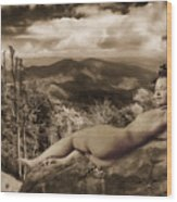 Nude Sunbather Wood Print