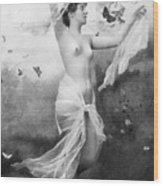 Nude With Butterflies Wood Print