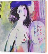 Nude With Flower Hat Wood Print