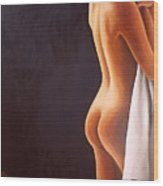Nude With Towel Wood Print