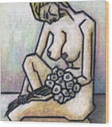 Nude With White Flowers Wood Print