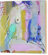 Nude With Yellow Stripe Wood Print