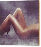 Nude Woman Body In Clouds Of Smoke Wood Print