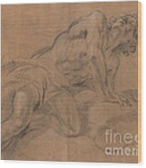 Nude Youth Leaning On A Cloud And Gazing Upward Wood Print