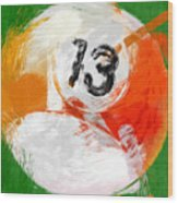 Number Thirteen Billiards Ball Abstract Wood Print by David G Paul