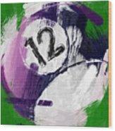 Number Twelve Billiards Ball Abstract Wood Print