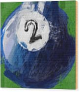 Number Two Billiards Ball Abstract Wood Print