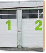 Numbers On Repair Shop Bay Doors Wood Print