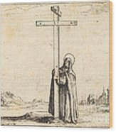 Nun Embracing The Holy Cross Wood Print