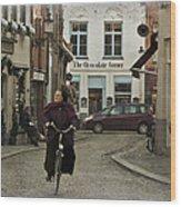 Nun On A Bicycle In Bruges Wood Print