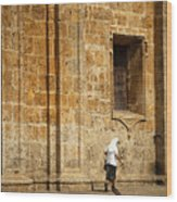 Nun Walking In Front Of Cathedral Wood Print