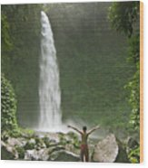 Nungnung Waterfall Wood Print