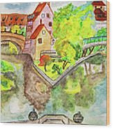 Nuremberg, Hand Drawn Picture Wood Print