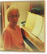 Nursing Home Piano Player Wood Print