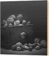 Nuts In Black And White Wood Print