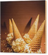 Nuts Over Ice-cream. Birthday Party Background Wood Print