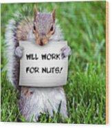 Nutty Squirrel Wood Print