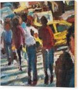 Ny Cross Walk Wood Print