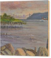 Ny Skyline And Gwb From Hastings On Hudson Wood Print