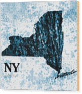 Ny State Map  Wood Print