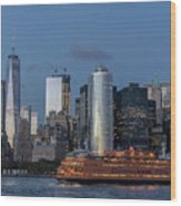 Nyc And Staten Island Ferry Wood Print