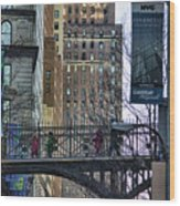 Nyc Crossings Daily Life Children  Wood Print