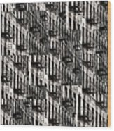 Nyc Fire Escapes Wood Print