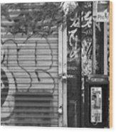 Nyc Graffiti Blk N Wht Wood Print