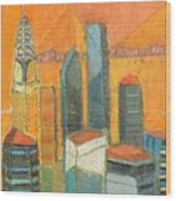 Nyc In Orange Wood Print