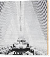 Nyc- Inside The Oculus In Black And White Wood Print