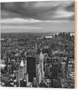 Nyc Manhattan Panorama Wood Print by Nina Papiorek