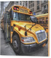 Nyc School Bus Wood Print