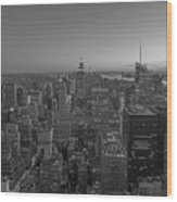Nyc Sunset Bw Wood Print