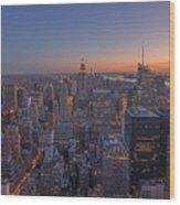 Nyc Sunset Wood Print