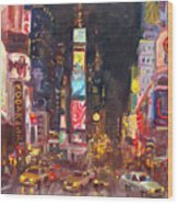 Nyc Times Square Wood Print