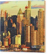 Nyc West Side In Gold And Blue  Wood Print