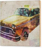 Nyc Yellow Cab Wood Print by Michael Tompsett
