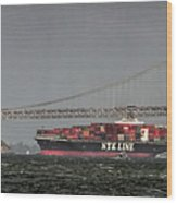 Nyl Line Container Ship By Bay Bridge In San Francisco, California Wood Print