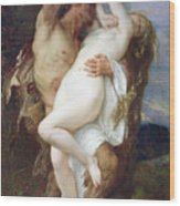Nymph Abducted By A Faun Wood Print by Alexandre Cabanel