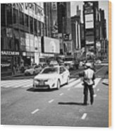 nypd traffic cop on Times Square New York City USA Wood Print