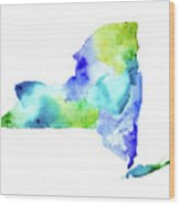 New York State In Blue And Green Wood Print
