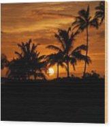 Oahu At Sunset Wood Print