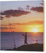 Oahu Fisherman Wood Print