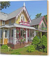 Oak Bluffs Gingerbread Cottages 3 Wood Print