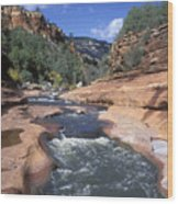 Oak Creek Flowing Through The Red Rocks Wood Print by Rich Reid