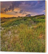 Oak Island Sunset Wood Print