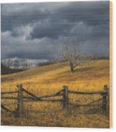 Oak Tree In Storm Wood Print