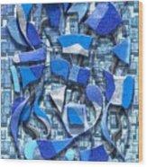 Oars And Rudders - Blue Wood Print
