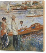 Oarsmen At Chatou Wood Print by Pierre Auguste Renoir
